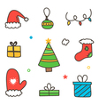 Doodle hand drawn colorful winter christmas set vector image