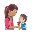 drawing boy giving flower mother celebration vector image