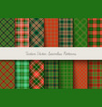 christmas tartan seamless patterns in grin and vector image vector image