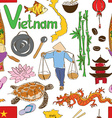 Sketch Vietnam seamless pattern vector image