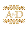 AD vintage initials logo symbol vector image