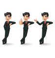 businessman in black suit stand leaning against vector image