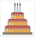 Cake line icons vector image