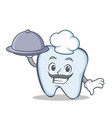 Chef tooth character cartoon style with food vector image