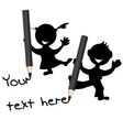 Children silhouettes with pencils in their hands vector image