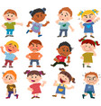 set of cartoon characters to boys and girls vector image