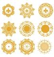 Set of yellow or gold mandalas vector image