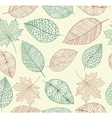 Vintage drawing fall leaves seamless pattern vector image