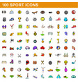 100 sport icons set cartoon style vector image