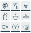 set of 9 eating icons includes food mapping vector image
