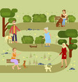 people with dogs vector image vector image