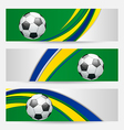 Set football cards in Brazil flag colors vector image vector image