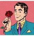 man flower Dating love meeting art pop retro vector image