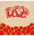 Love hand lettering Valentines day card with red vector image
