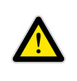 attention bright yellow warning sign on white vector image