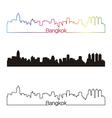 Bangkok skyline linear style with rainbow vector image