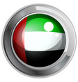 Flag of arab emirates in round metal frame vector image