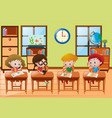 Four students learning at school vector image