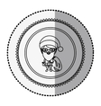 monochrome circle with middle shadow sticker with vector image