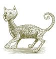 Woodcut Cat Drawing vector image vector image