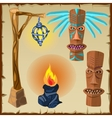 Two totems fire and lantern ancient symbols vector image