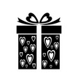 gift icon with heart pattern sign gift box vector image