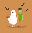 halloween trick or treat set characters are vector image