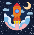 space rocket ship in round piece with moon vector image