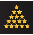 Set of rating stars Gold five-pointed in the vector image vector image