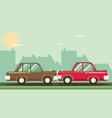 Car crash two cars hit head-on flat design vector image