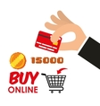buy online games shop credit card coin score vector image