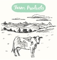 Drawn cow meadow farm fresh products vector image