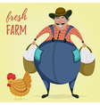 farmer with chicken and eggs vector image