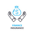 finance insurance concept outline icon linear vector image