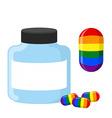 Pills with LGBT flag Medical bottle tablet vector image