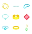 Precious jewels icons set cartoon style vector image