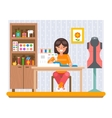 Sewing Hobby Work at Home Craft Flat Design vector image