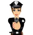 young policewoman holding revolver gun vector image