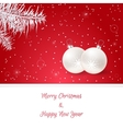 Christmas card in red On her white branches of vector image