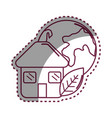 sticker house with leaf and earth planet vector image