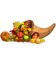 Cornucopia wicker basket with autumn fruits vector image