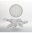Ball on the arm The hand holding a sphere vector image