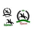 Equestrian sport symbols with horses and riders vector image vector image