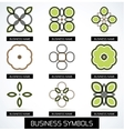 Abstract business green geometric symbols icon set vector image