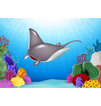 Cartoon stingray with Coral Reef Underwater vector image
