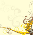 yellow flowers ornate background vector image