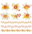 Autumn Bouquets And Borders vector image