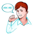 Ask me support guy vector image