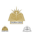 Church logo cross and open bible vector image