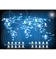 Business people and world network communication vector image